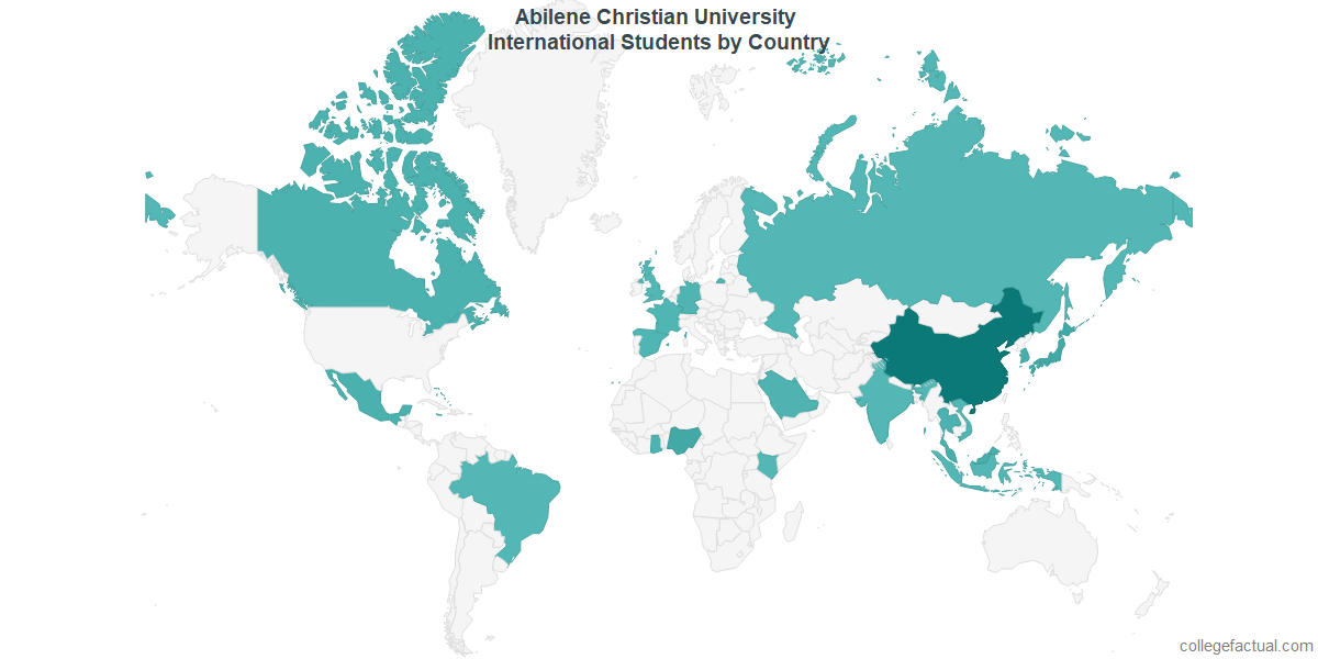 International students by Country attending Abilene Christian University