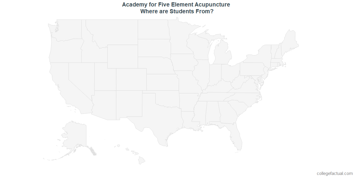 Undergraduate Geographic Diversity at Academy for Five Element Acupuncture