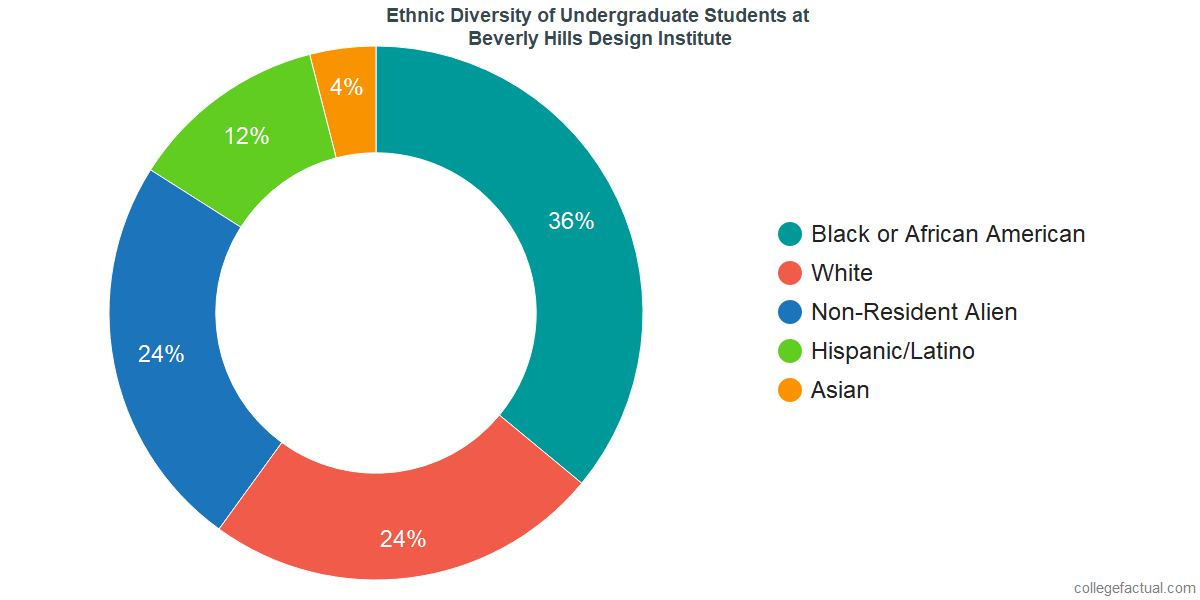 Ethnic Diversity of Undergraduates at Beverly Hills Design Institute