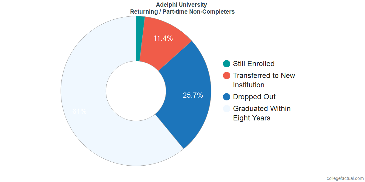 Non-completion rates for returning / part-time students at Adelphi University