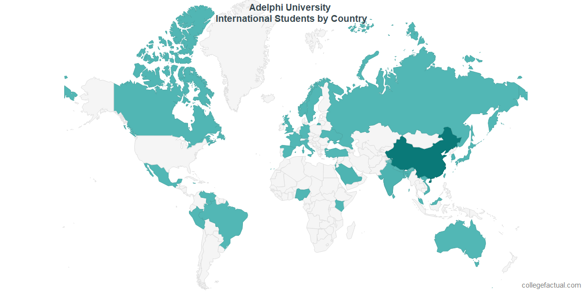 International students by Country attending Adelphi University