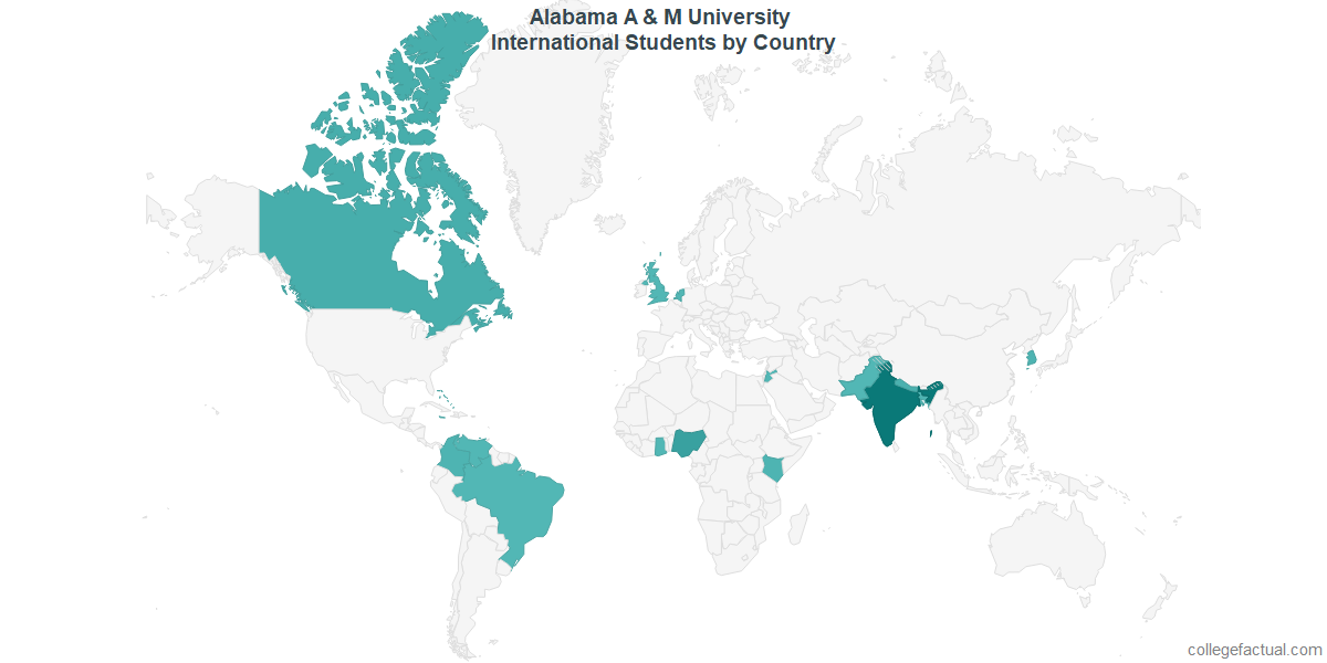 International students by Country attending Alabama A & M University