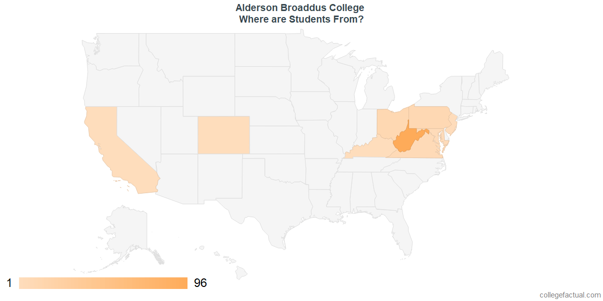 What States are Undergraduates at Alderson Broaddus College From?