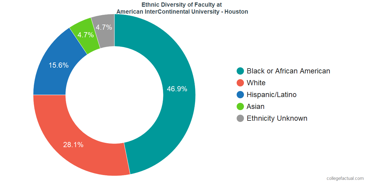 Ethnic Diversity of Faculty at American InterContinental University - Houston