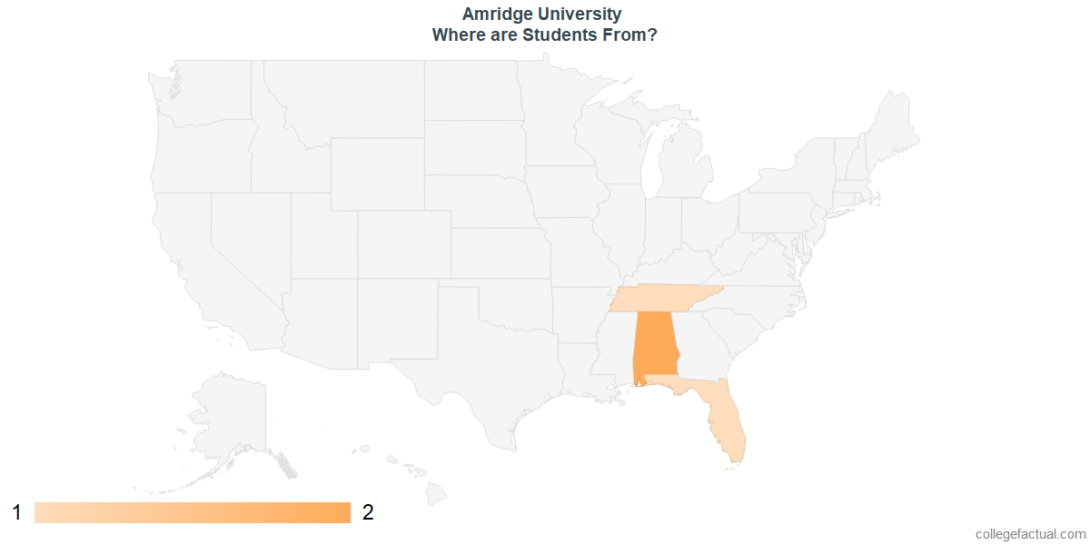What States are Undergraduates at Amridge University From?