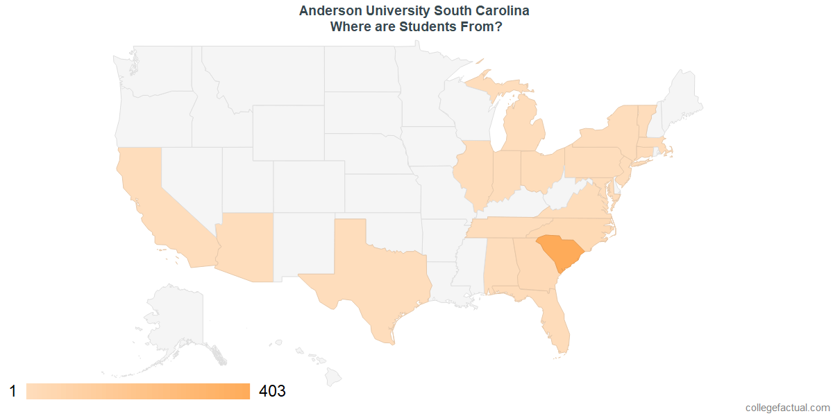 What States are Undergraduates at Anderson University South Carolina From?