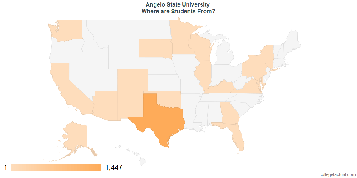What States are Undergraduates at Angelo State University From?