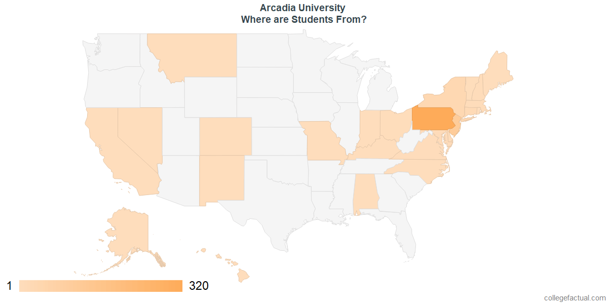 What States are Undergraduates at Arcadia University From?
