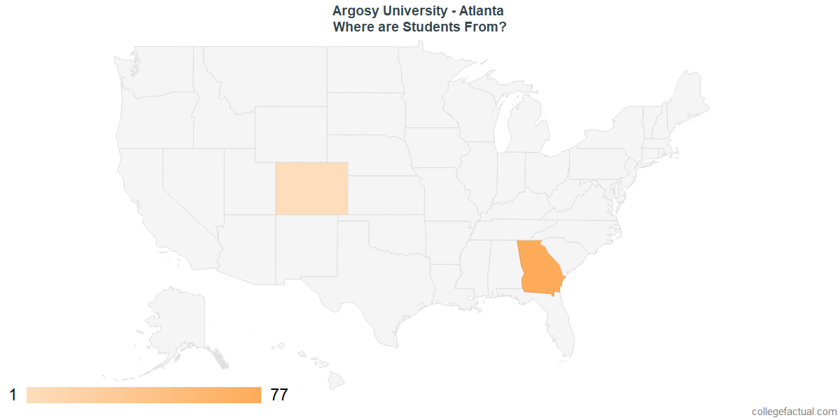 What States are Undergraduates at Argosy University - Atlanta From?