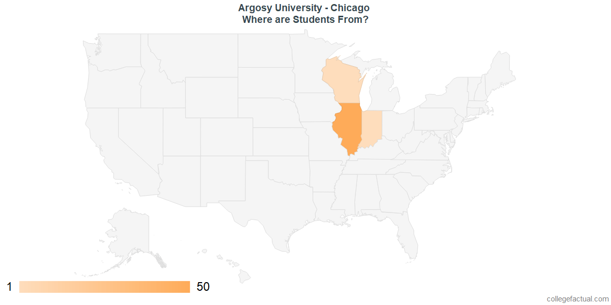 What States are Undergraduates at Argosy University - Chicago From?