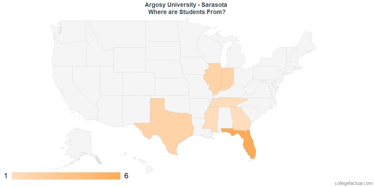What States are Undergraduates at Argosy University - Sarasota From?