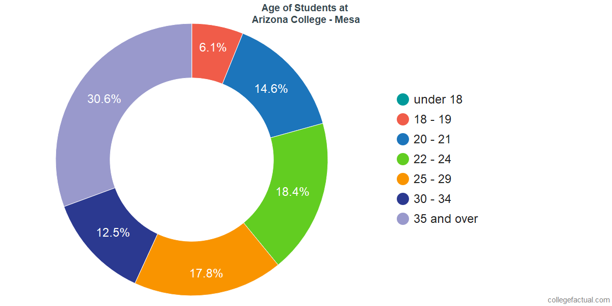 Age of Undergraduates at Arizona College - Mesa