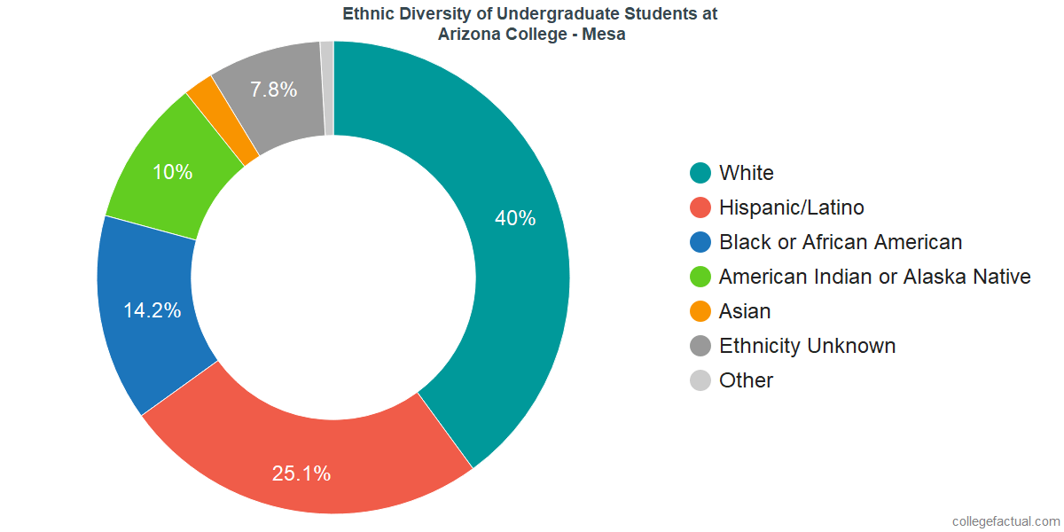Ethnic Diversity of Undergraduates at Arizona College - Mesa