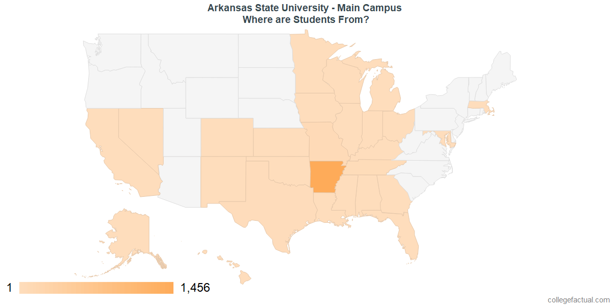 Undergraduate Geographic Diversity at Arkansas State University - Main Campus
