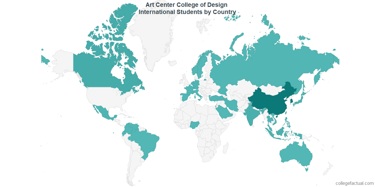 International students by Country attending Art Center College of Design