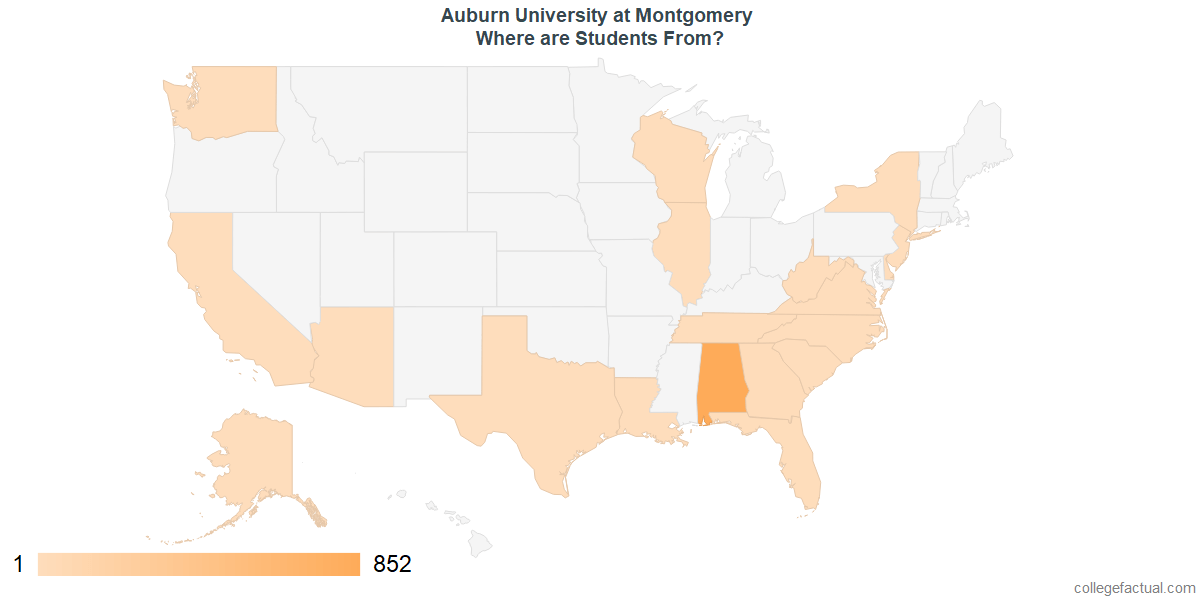 What States are Undergraduates at Auburn University at Montgomery From?