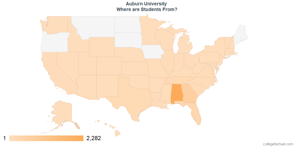 What States are Undergraduates at Auburn University From?