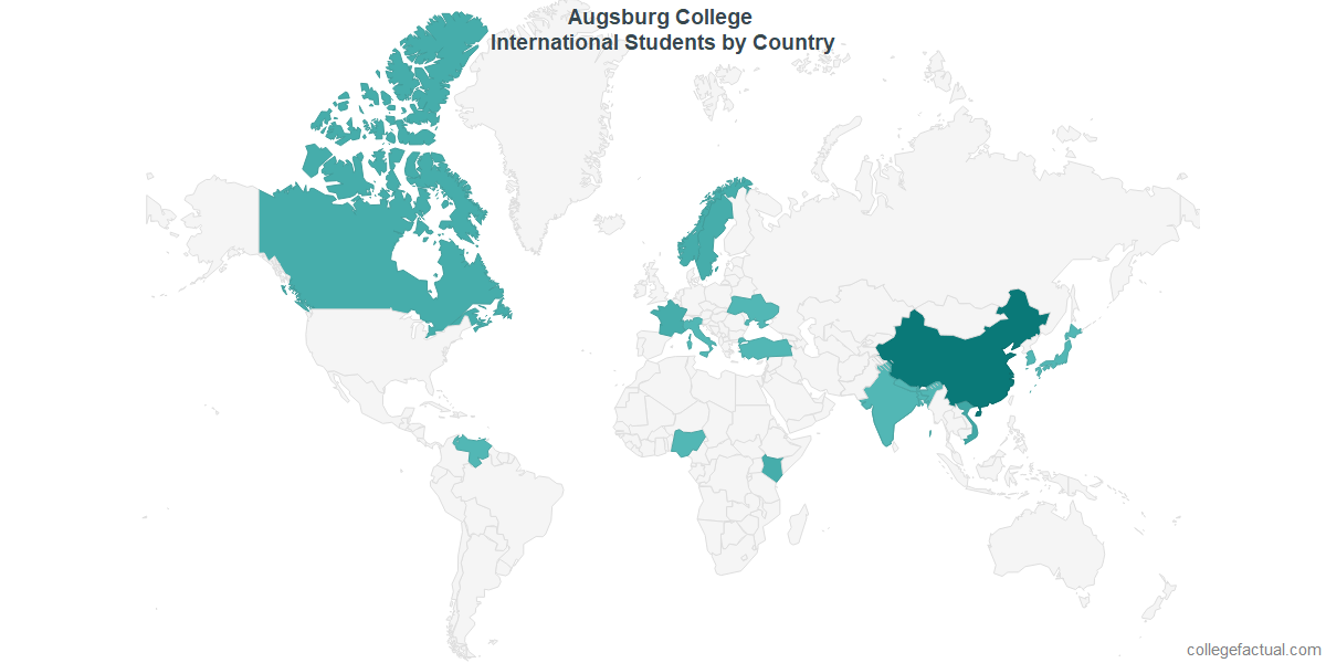 International students by Country attending Augsburg College