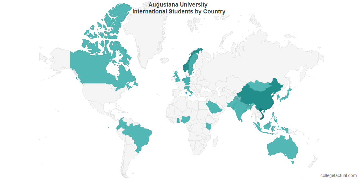 International students by Country attending Augustana University