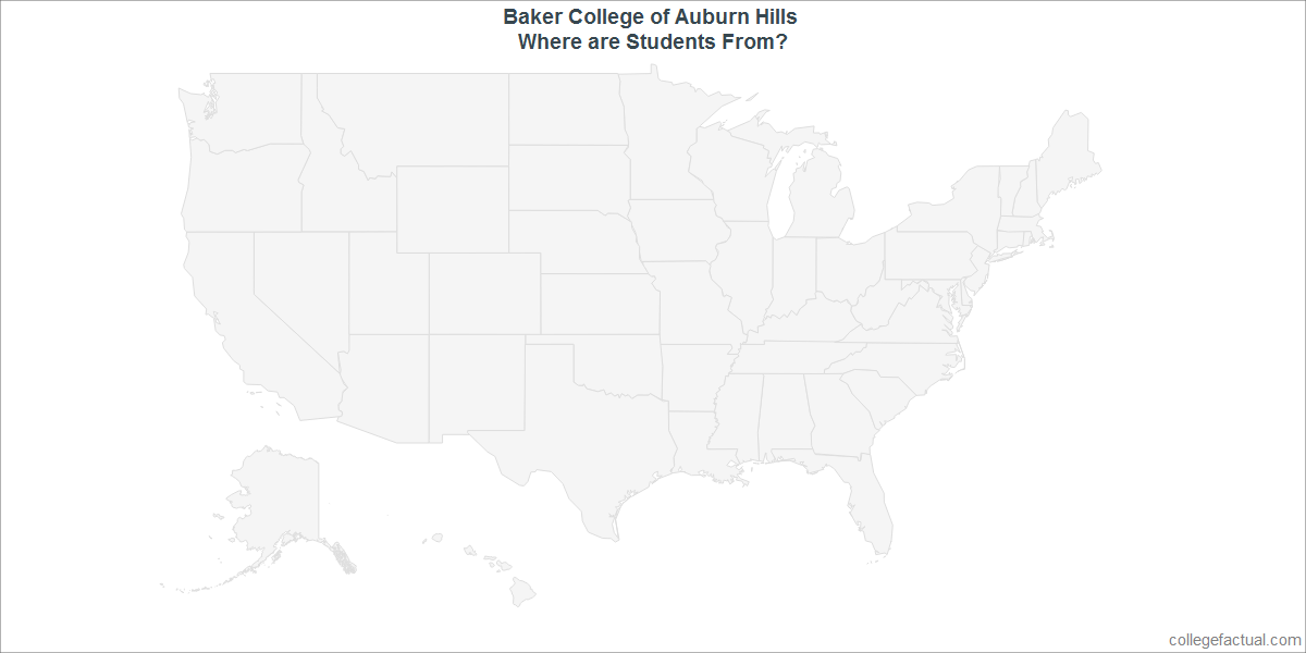 Undergraduate Geographic Diversity at Baker College of Auburn Hills