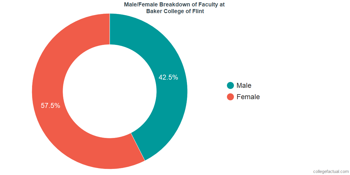 Male/Female Diversity of Faculty at Baker College of Flint