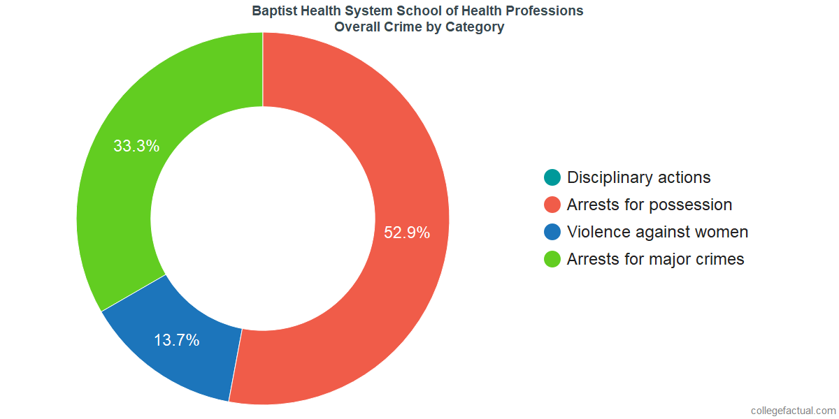 Overall Crime and Safety Incidents at Baptist Health System School of Health Professions by Category