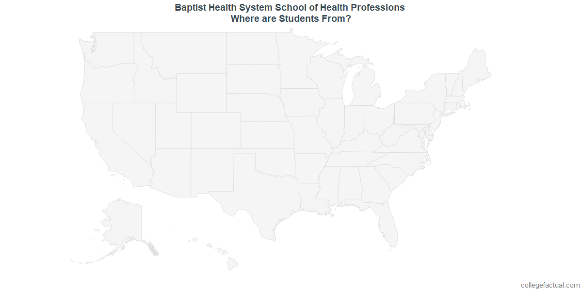 Undergraduate Geographic Diversity at Baptist Health System School of Health Professions