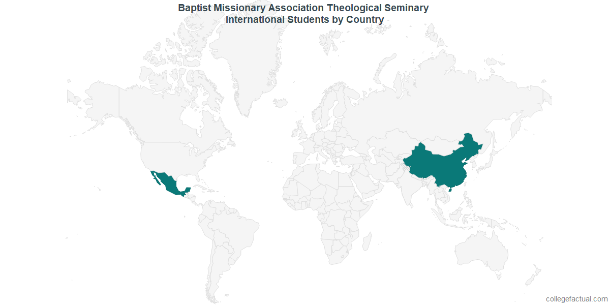 International students by Country attending Baptist Missionary Association Theological Seminary