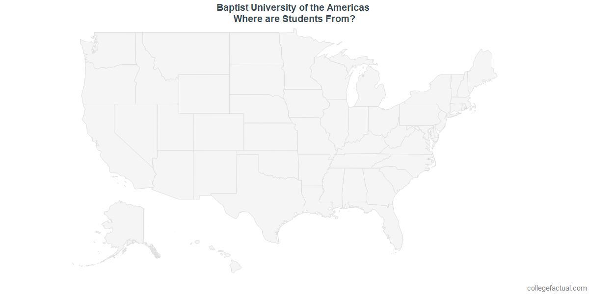 Undergraduate Geographic Diversity at Baptist University of the Americas