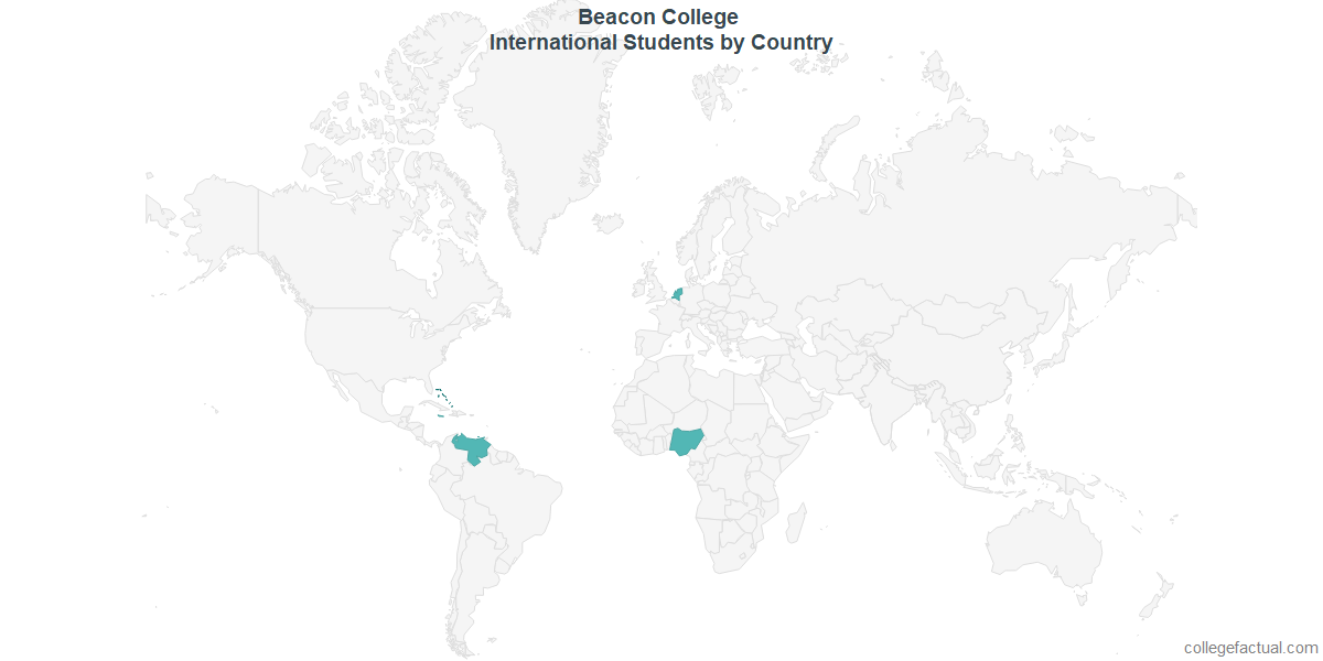 International students by Country attending Beacon College