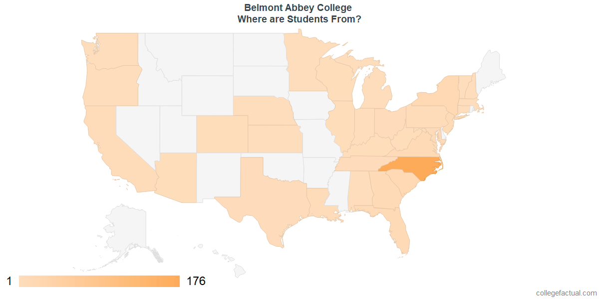 What States are Undergraduates at Belmont Abbey College From?