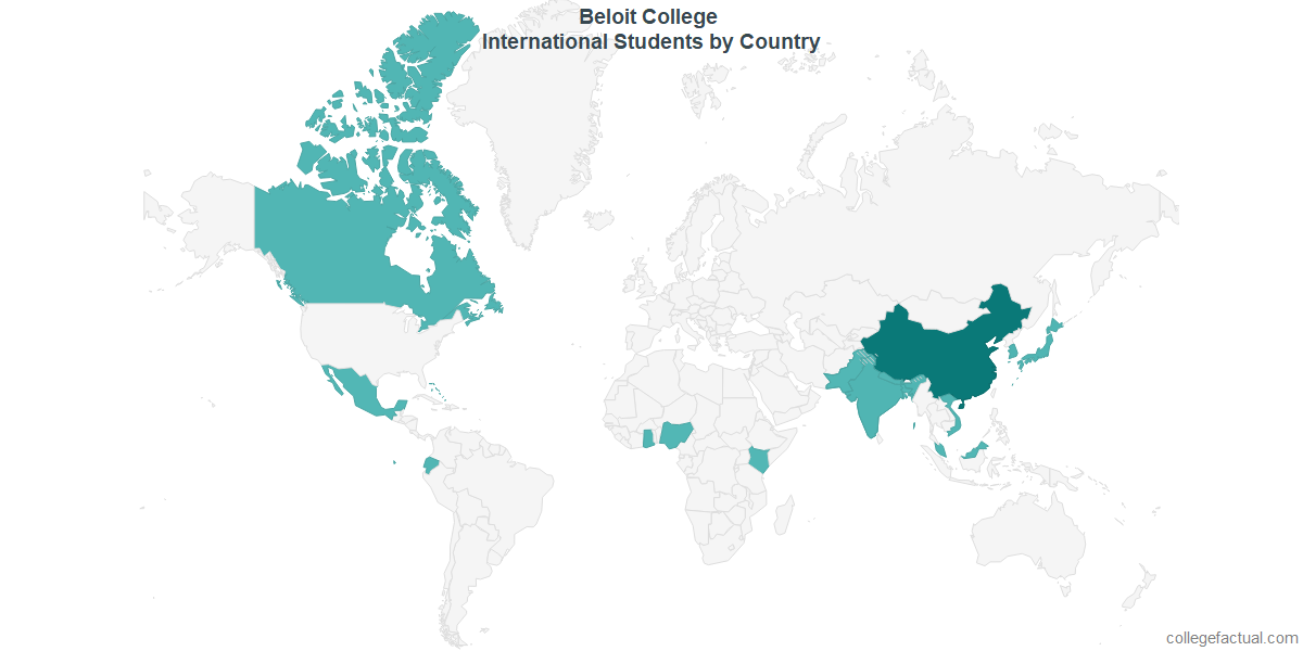 International students by Country attending Beloit College