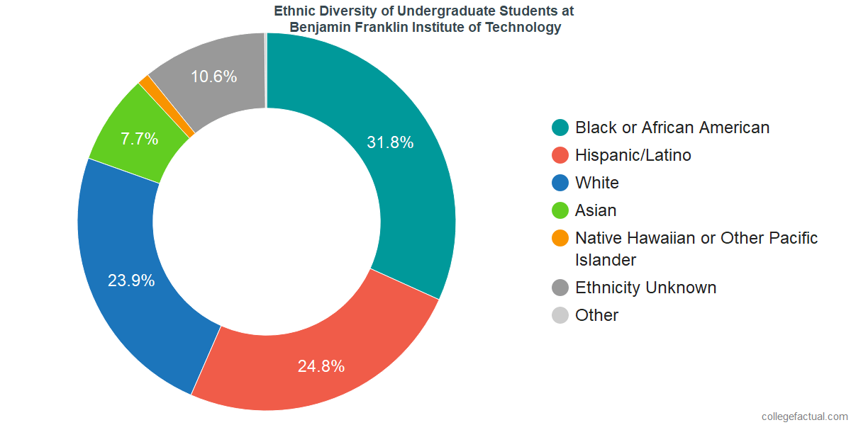 Ethnic Diversity of Undergraduates at Benjamin Franklin Institute of Technology