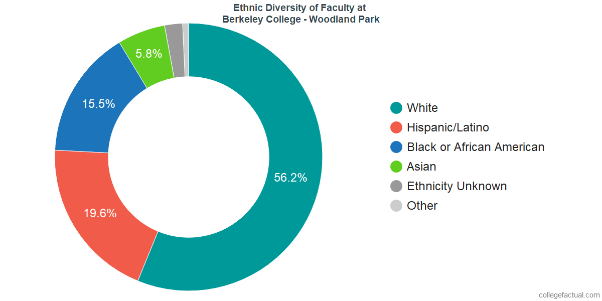 Ethnic Diversity of Faculty at Berkeley College - Woodland Park