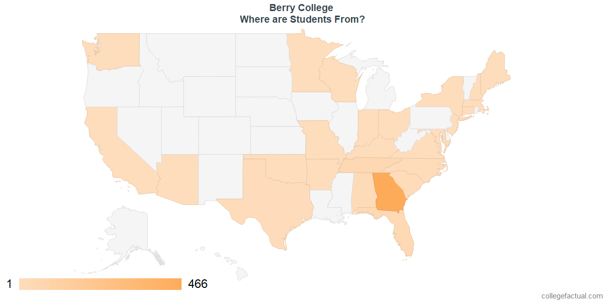 What States are Undergraduates at Berry College From?