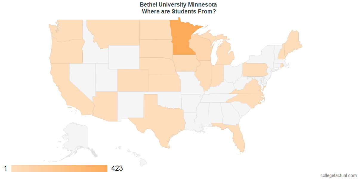 What States are Undergraduates at Bethel University Minnesota From?