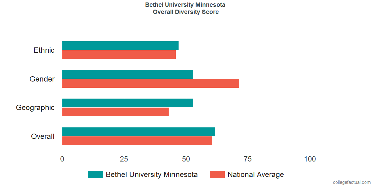 Overall Diversity at Bethel University Minnesota
