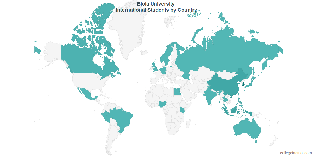 International students by Country attending Biola University