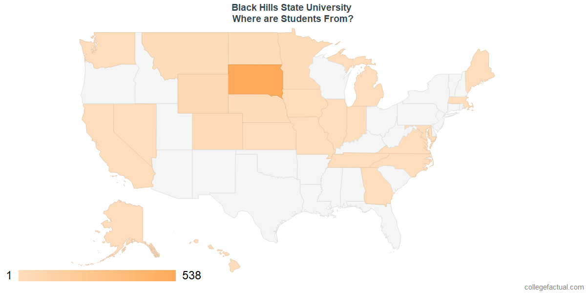 What States are Undergraduates at Black Hills State University From?