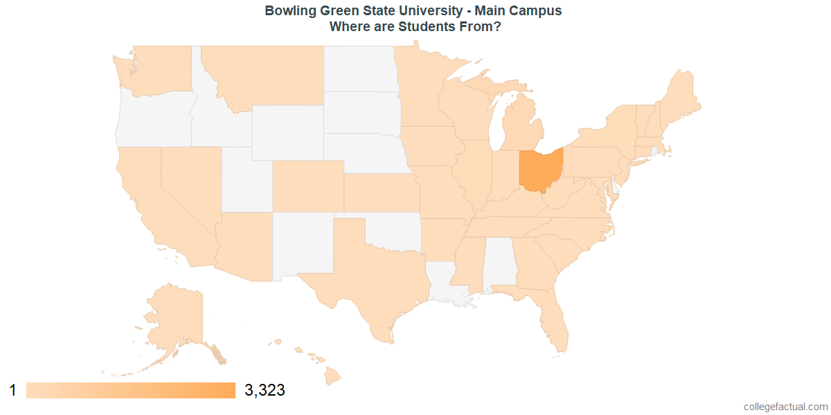 What States are Undergraduates at Bowling Green State University - Main Campus From?
