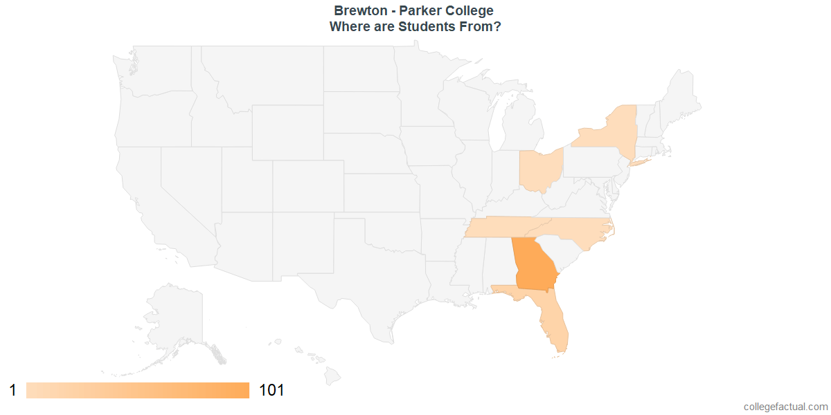 What States are Undergraduates at Brewton - Parker College From?