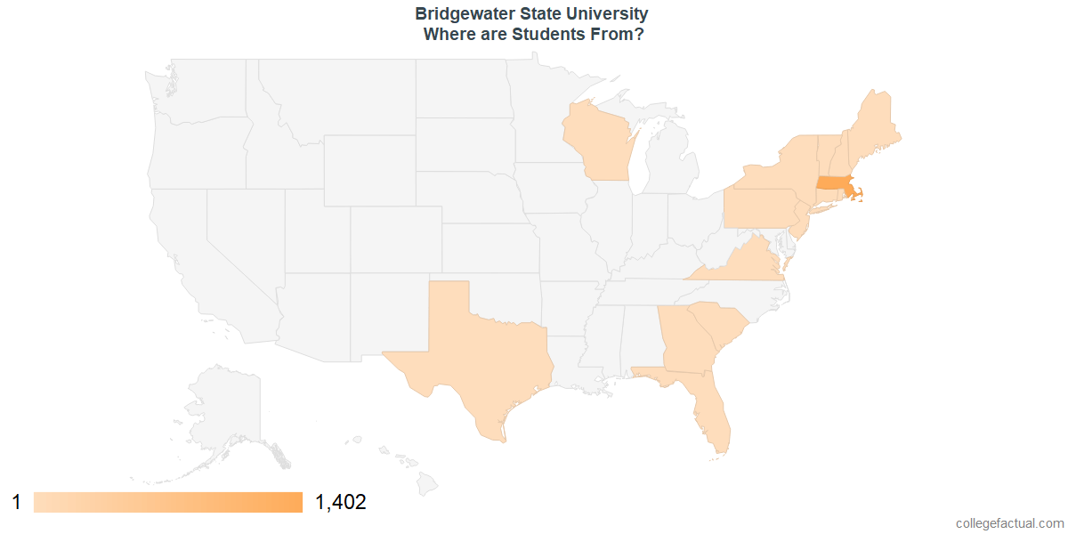 What States are Undergraduates at Bridgewater State University From?