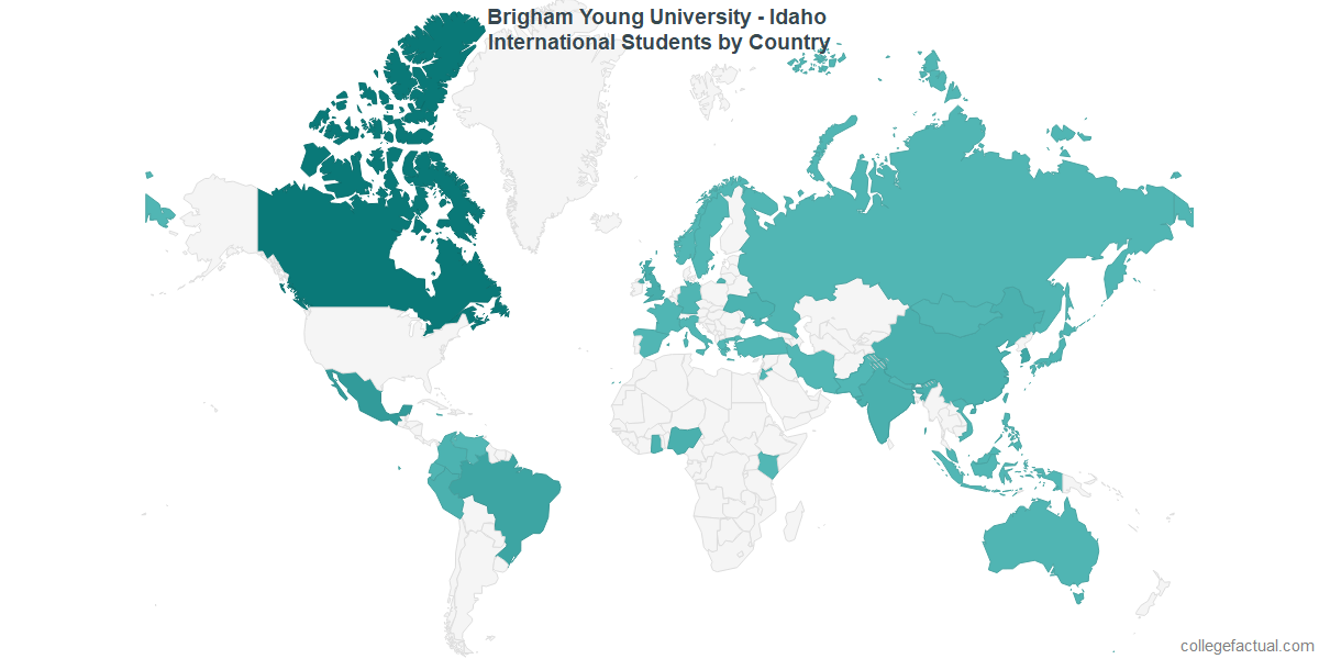 International students by Country attending Brigham Young University - Idaho
