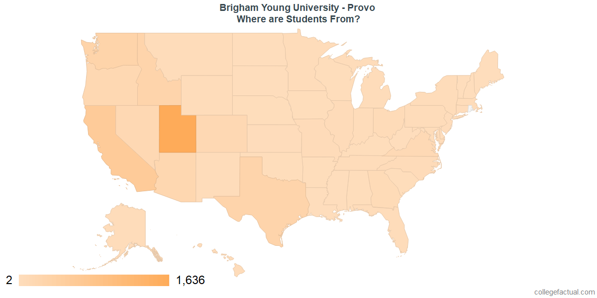 What States are Undergraduates at Brigham Young University - Provo From?