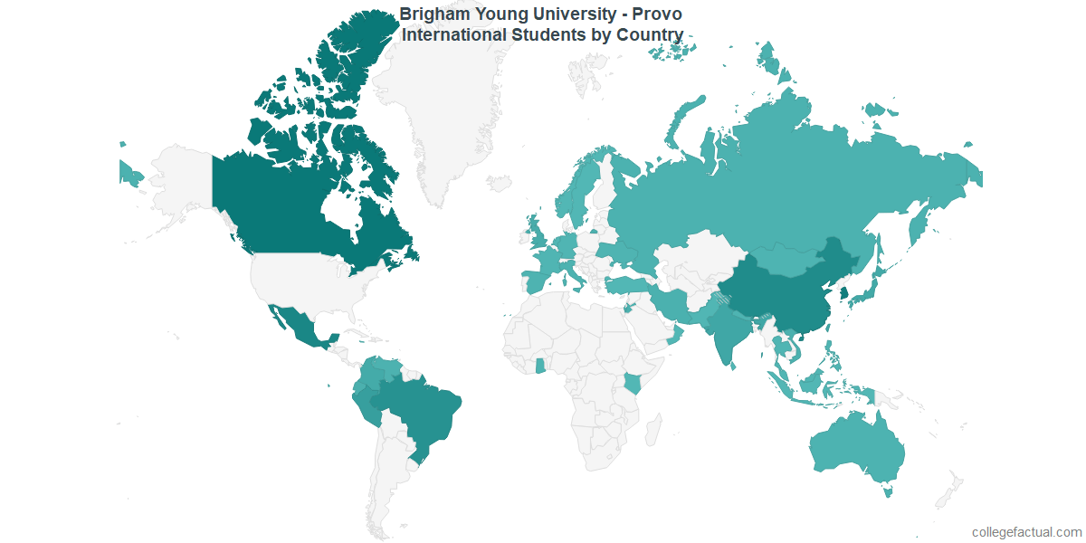 International students by Country attending Brigham Young University - Provo
