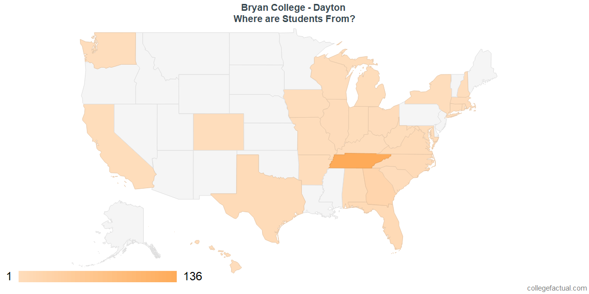 What States are Undergraduates at Bryan College - Dayton From?