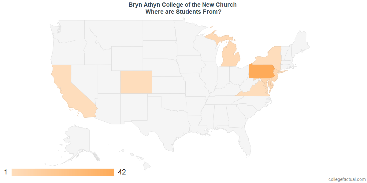 What States are Undergraduates at Bryn Athyn College of the New Church From?