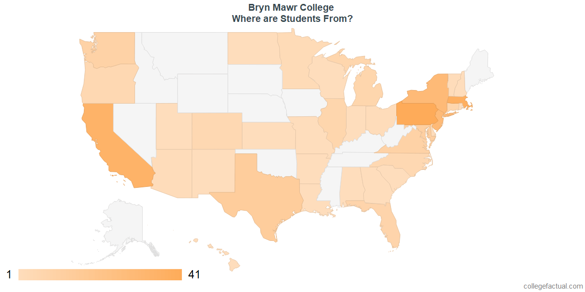 What States are Undergraduates at Bryn Mawr College From?