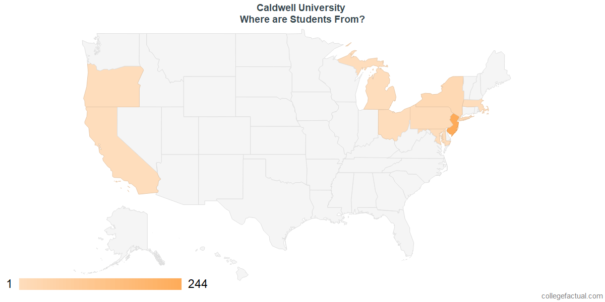 What States are Undergraduates at Caldwell University From?