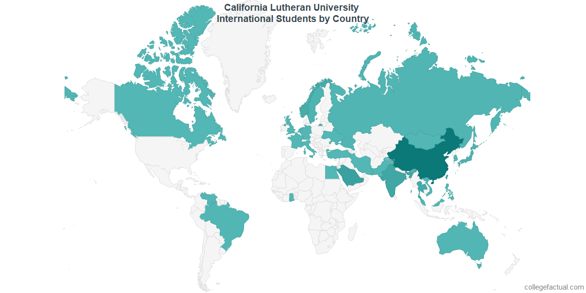International students by Country attending California Lutheran University
